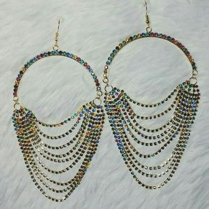 Mini-Rhinestone Arch & Scoop Fringe Earrings
